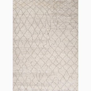 Hand-Made Ivory/ Brown Wool Textured Rug (9x12)
