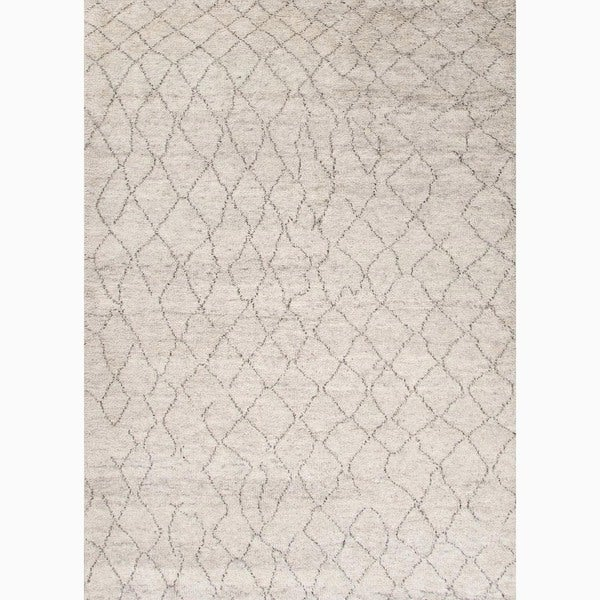 Hand-Made Ivory/ Brown Wool Textured Rug (2X3)
