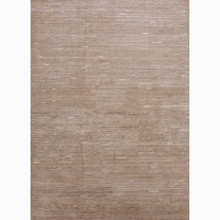 Hand-Made Tone-on-Tone Pattern Taupe/ Ivory Wool/ Art Silk Rug (8x11)