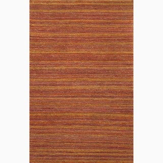 Hand-Made Stripe Pattern Red/ Orange Hemp Rug (8x10)
