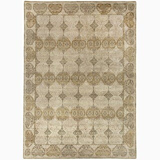 Hand-Made Abstract Pattern Ivory/ Taupe Wool Rug (9x12)