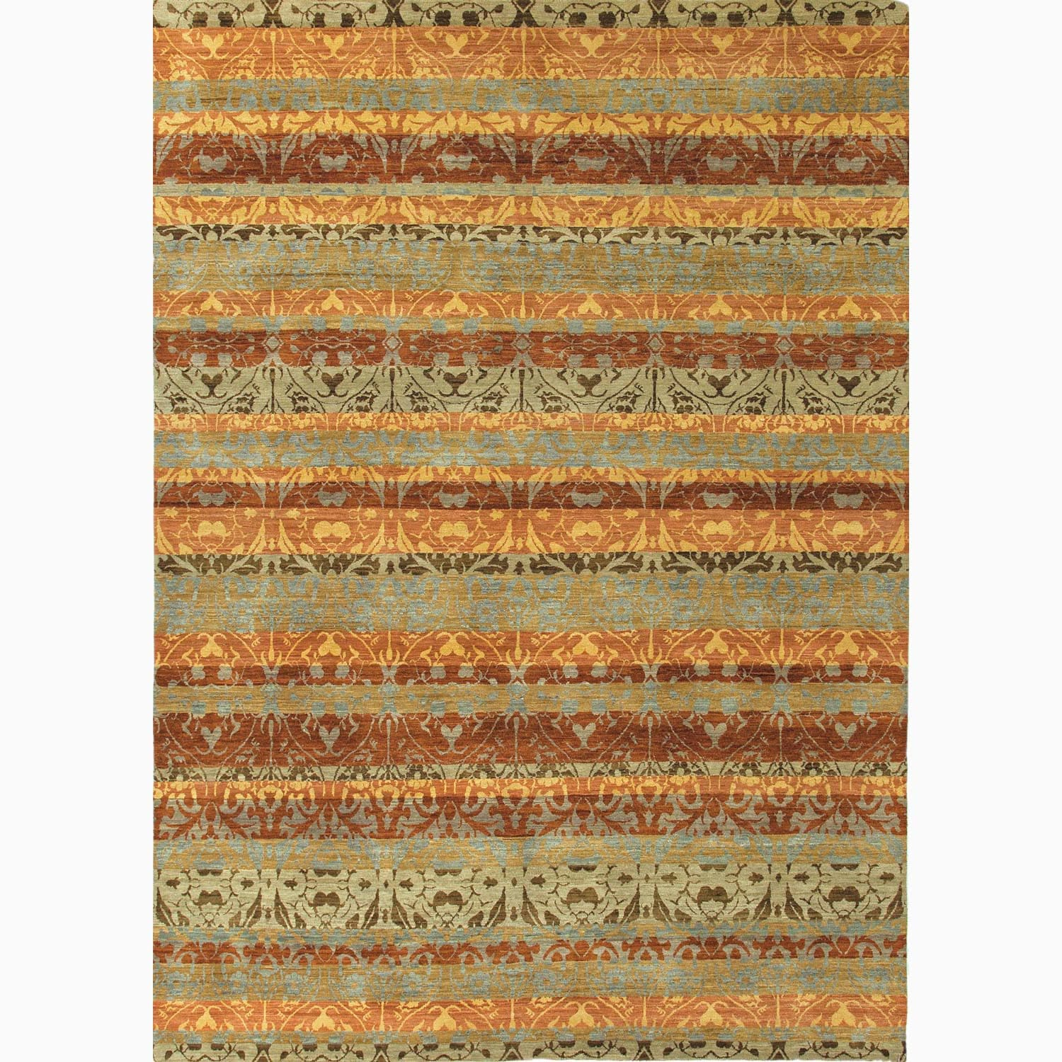 Handmade Abstract Pattern Red/ Green Wool Rug (6 x 9)