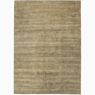 Handmade Abstract Pattern Taupe/ Gray Wool Rug (6 x 9)
