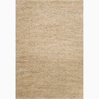 Hand-Made Solid Pattern Ivory/ White Hemp Rug (3.6X5.6)