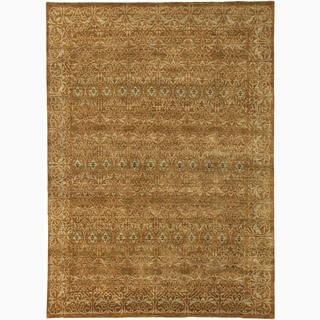 Hand-Made Abstract Pattern Orange/ Taupe Wool Rug (9x12)