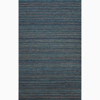 Handmade Stripe Pattern Blue/ Purple Hemp Rug (8 x 10)