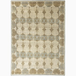 Hand-Made Abstract Pattern Ivory/ Blue Wool Rug (8x10)
