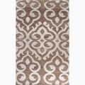 Hand-Made Brown/ Gray Wool/ Art Silk Textured Rug (2X3)