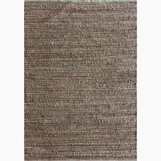 Handmade Solid Pattern Taupe/ Gray Cotton/ Jute Area Rug (3'6 x 5'6)