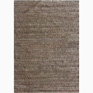 Handmade Solid Pattern Taupe/ Gray Cotton/ Jute Rug (5 x 8)