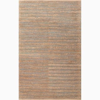 Hand-Made Solid Pattern Blue/ Tan Cotton/ Jute Rug (8x10)
