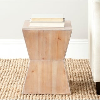 Inspire Q Hatteras Modern Geometric Woodblock End Table