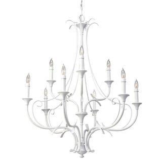 Peyton Saltspray 9-light Semi Gloss White Chandelier