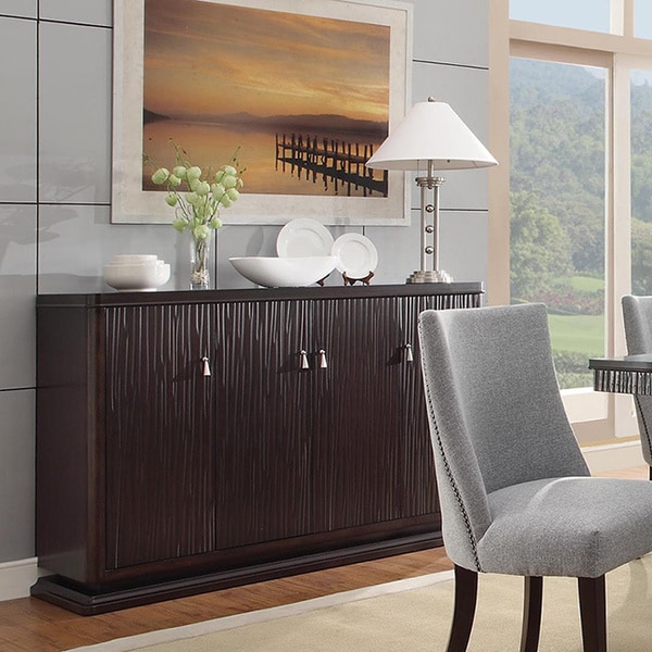 Tribecca home dominic espresso wine rack buffet storage for Furniture of america alton modern multi storage buffet espresso