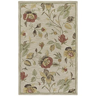 Hand-tufted Lawrence Oatmeal Floral Wool Rug (2'0 x 3'0)