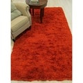 Handmade Burnt Orange Wool and Viscose Shaggy Rug (8' x 10')