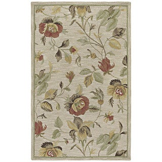 Hand-Tufted Lawrence Oatmeal Floral Wool Rug (9'6 x 13'0)