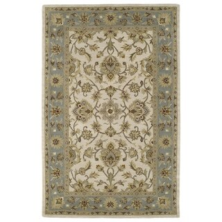 Hand-tufted Lawrence Beige Kashan Wool Rug (5'0 x 7'9)