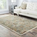 Hand-Made Blue/ Ivory Wool Easy Care Rug (10x14)