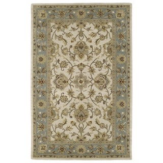 Hand-tufted Lawrence Beige Kashan Wool Rug (7'6 x 9'0)