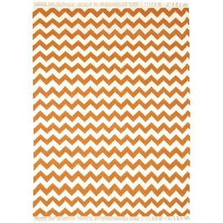Hand Woven Orange Electro Wool Flat Weave 10x14