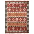 Hand Woven Jewel Wool Flat Weave 8x10