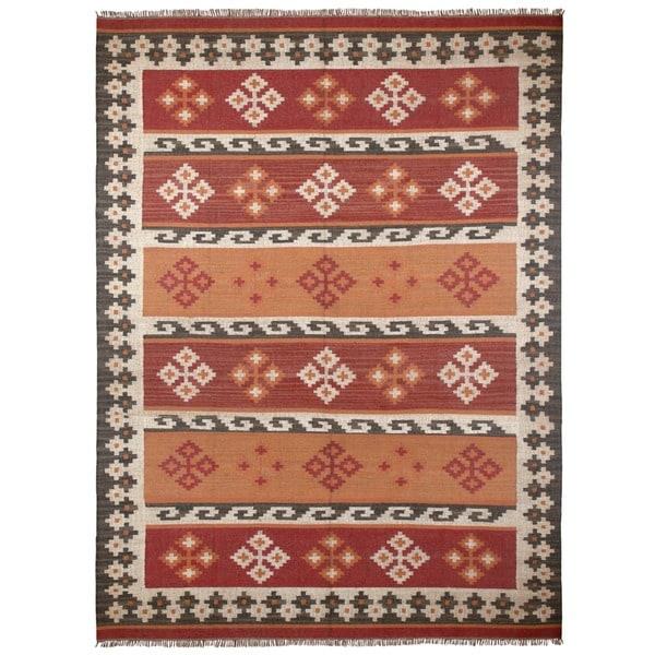 Hand Woven Jewel Wool Flat Weave 9x12