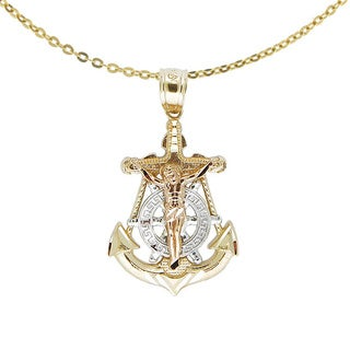 14k Tri-color Gold Nautical Anchor Jesus Necklace