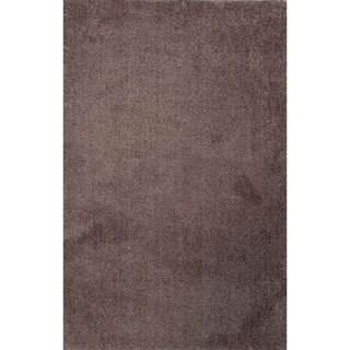 Handmade Gray Polyester Plush-pile Area Rug (4' x 6')