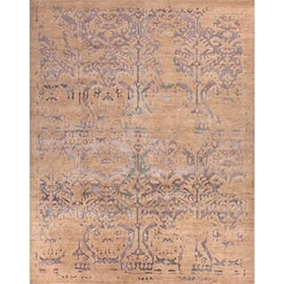 Handmade Tribal Pattern Taupe/ Blue Wool/ Bamboo Silk Rug (9 x 12)