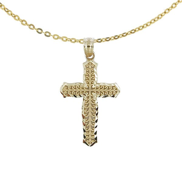 14k Yellow Gold Classic Diamond-cut Cross Necklace