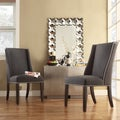 Inspire Q Regency Dark Grey Nailhead Wingback Hostess Chair (Set of 2)