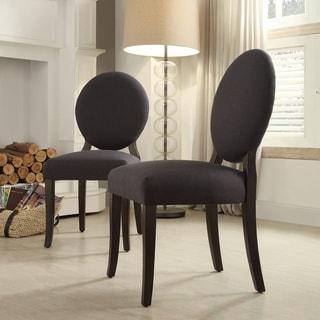 INSPIRE Q Paulina Dark Grey Fabric Round Back Dining Chair Set Of 2 Overs