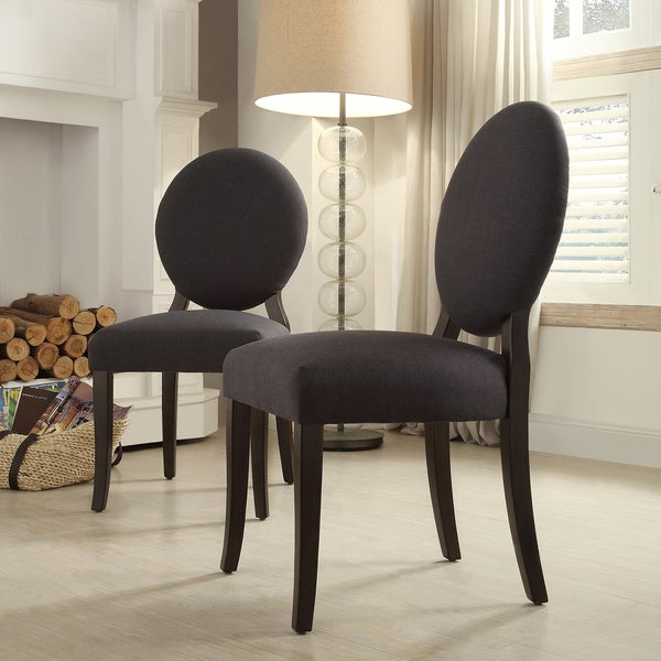 INSPIRE Q Paulina Dark Grey Fabric Round Back Dining Chair