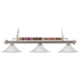 Z-Lite Pool Balls 3-light Brushed-nickel Billiard Pendant with Mottle Glass Shades