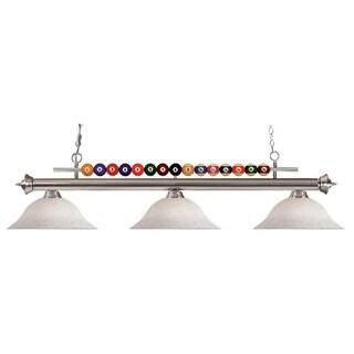 Avery Home Lighting 3-light Brushed Nickel Billiard Pendant - Silver/White