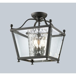 Z-Lite Bronze Caged Glass 3-light Semi-flush Fixture