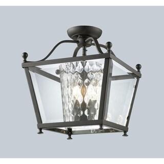 Z-Lite Bronze Caged Glass 3-light Semi-flush Fixture