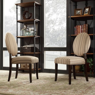 INSPIRE Q Paulina Mocha Brown Stripe Round Back Dining Chair (Set of 2)