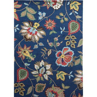 Handmade Transitional Blue/ Multicolored Wool Looped-pile Rug (3'6 x 5'6)