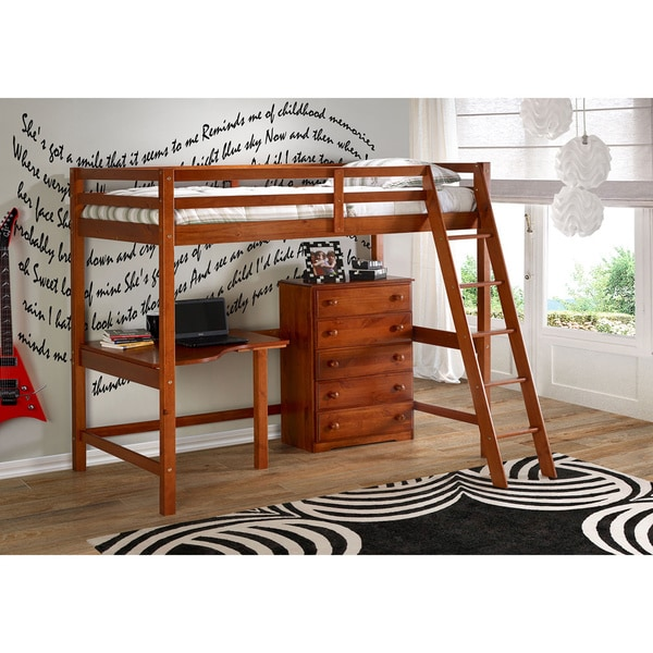 Donco Kids Twin Modular Study Loft with 5-drawer Chest