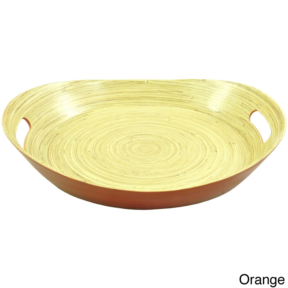 Overstock.com Bamboo Round Handled Serving Tray (Vietnam) at Sears.com