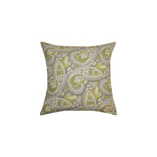 20 x 20-inch Muted Green and Grey Paisley Print Throw Pillow (India)