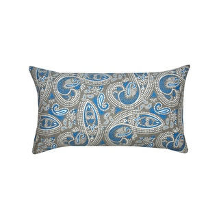 14 x 14-inch Blue and Grey Muted Paisley Print Accent Pillow (India)