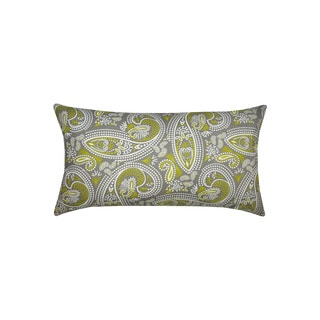 14 x 24-inch Green and Grey Muted Paisley Print Throw Pillow (India)