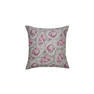 Purple and Grey Muted Paisley Print Throw Pillow (India)