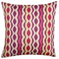 Magenta Vertical Ikat Stripe Throw Pillow (India)