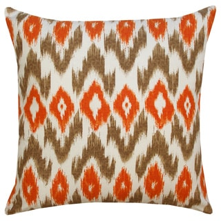 Grey and Orange Ikat Throw Pillow (India)