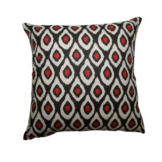 Red and Black Ikat Dots Throw Pillow (India)