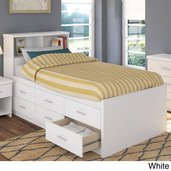 Sonax 2 piece single twin captain 39 s storage bed set with for Single bed bedroom furniture sets